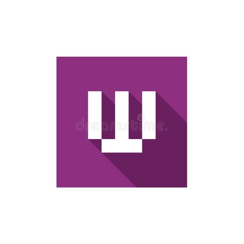 Vector Logo Design de la letra W, combinado con el cuadrado púrpura, estilo largo del diseño de la sombra ilustración del vector