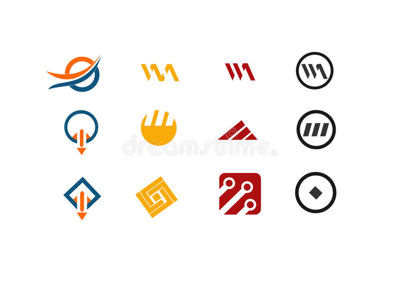 12 vector logo and design elements stock image