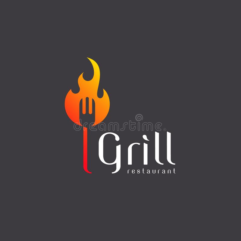 Vector logo design grill restaurant. Grilling. Barbecue royalty free illustration