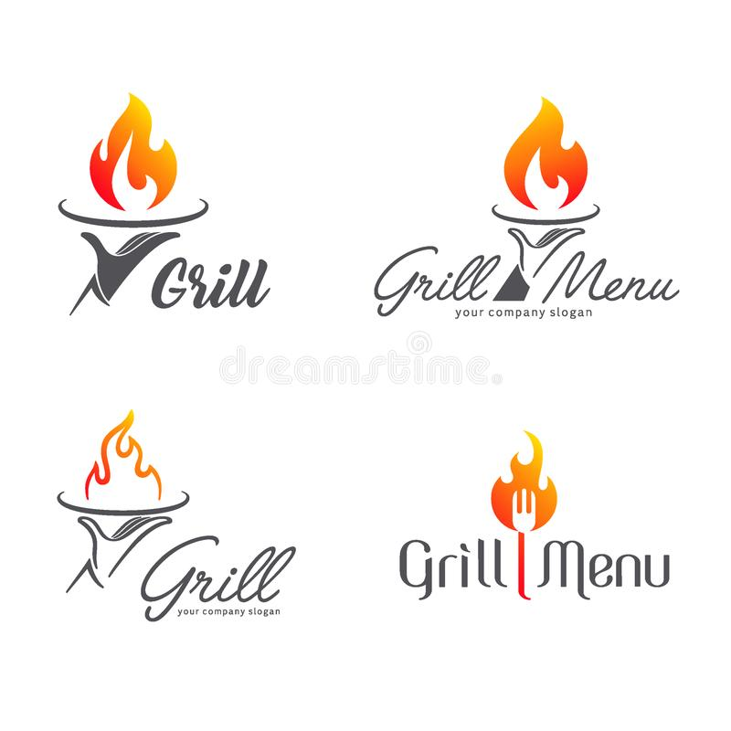Vector logo design grill restaurant stock illustration