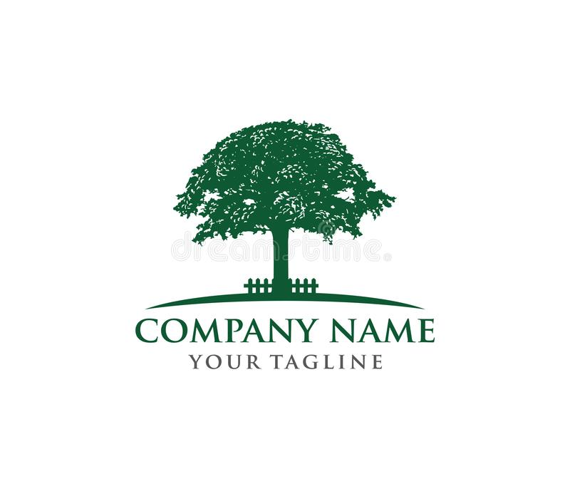 Download Vector Logo Design Illustration Of Oak Tree Wise And Strong Stock