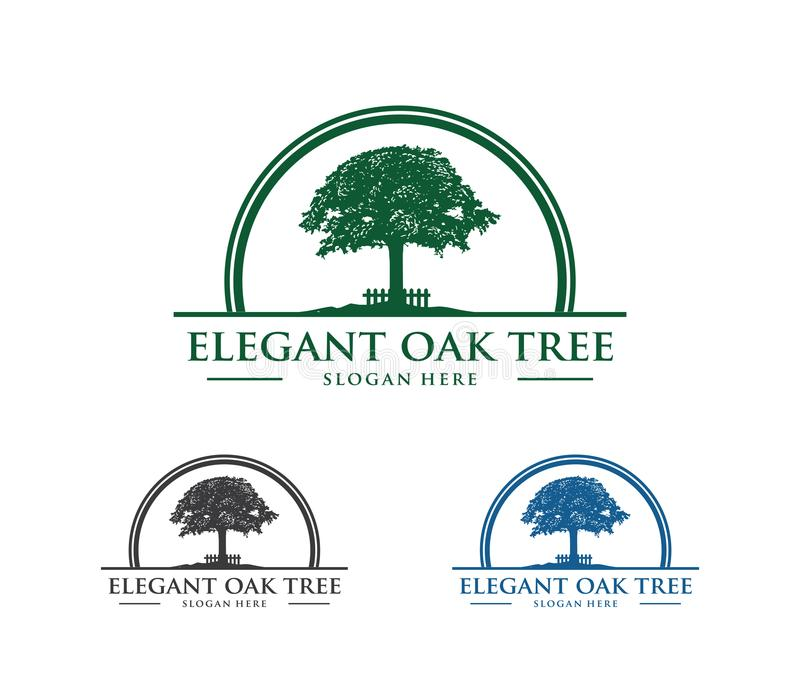 Vector logo design illustration of oak tree logo, wise and strong, house property firm, green home stay resort. This is vector logo design illustration perfectly royalty free illustration