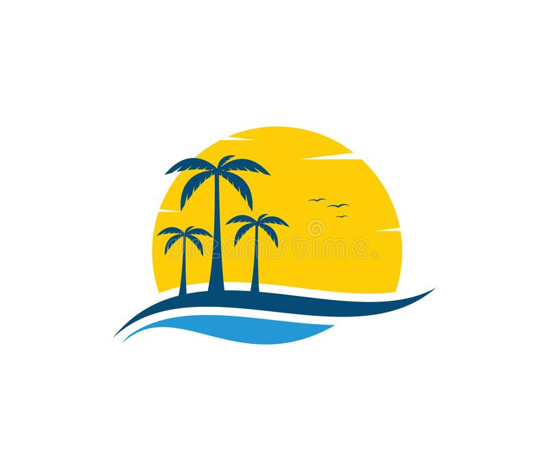 Vector logo design of ocean sea water beach summer sailing tourism. For travel,tour, yacht, hotel ship, hospitality in the sea business stock illustration