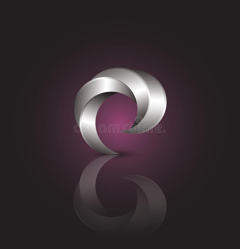 Vector logo design template. Abstract burgundy and grey wave. royalty free stock photography