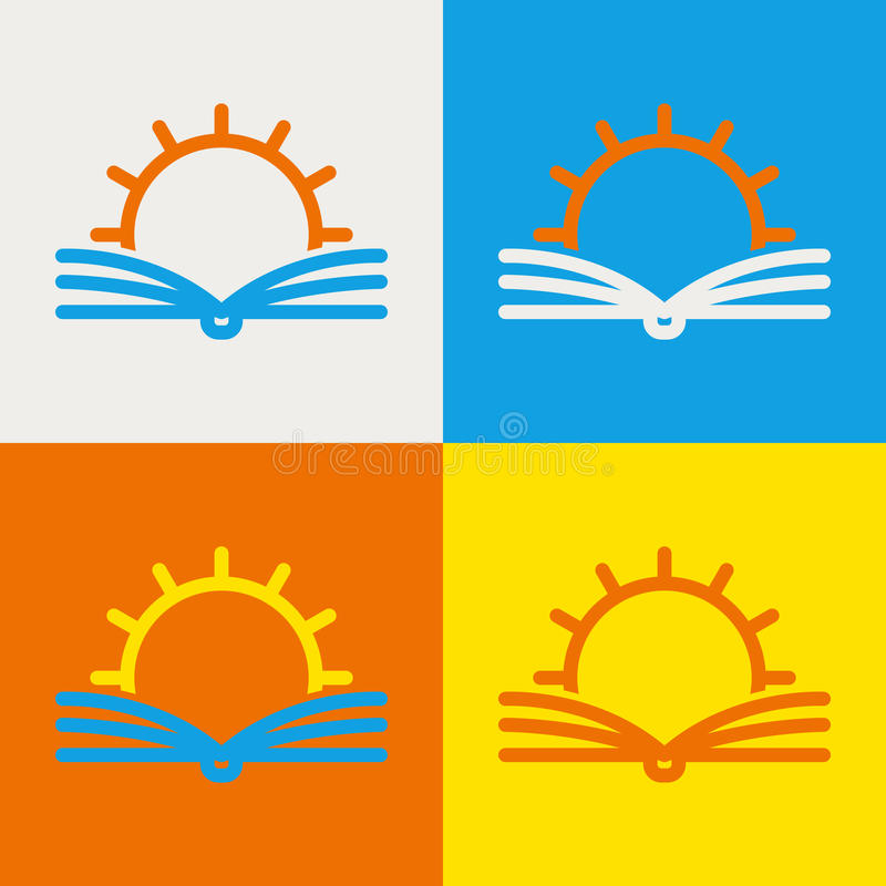 Vector logo design template. Abstract line sun and open book. Education, library, school, university, knowledge icon concept. vector illustration