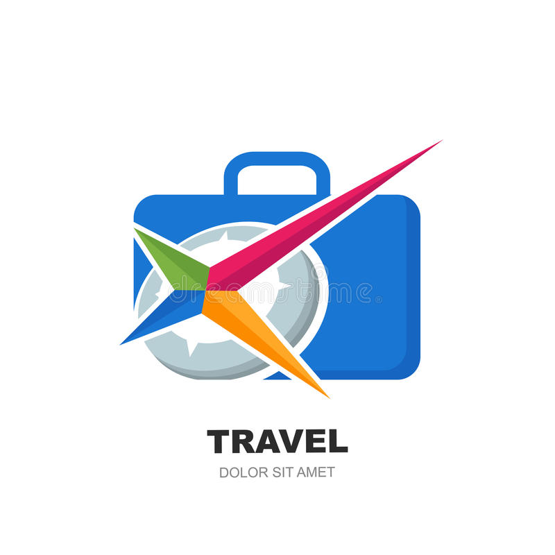 Vector logo design template with abstract multicolor compass symbol. And blue luggage suitcase. Modern concept for vacation, travel, tour search and tourism royalty free illustration