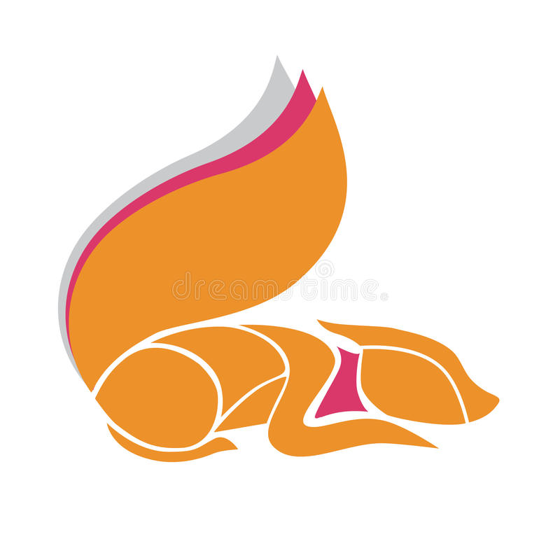 Vector logo design template. Abstract orange and pink fox. royalty free stock photo