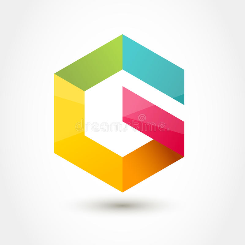Vector logo design template. Colorful hexagon infinity loop shape, business technology abstract symbol. Letter G icon royalty free illustration