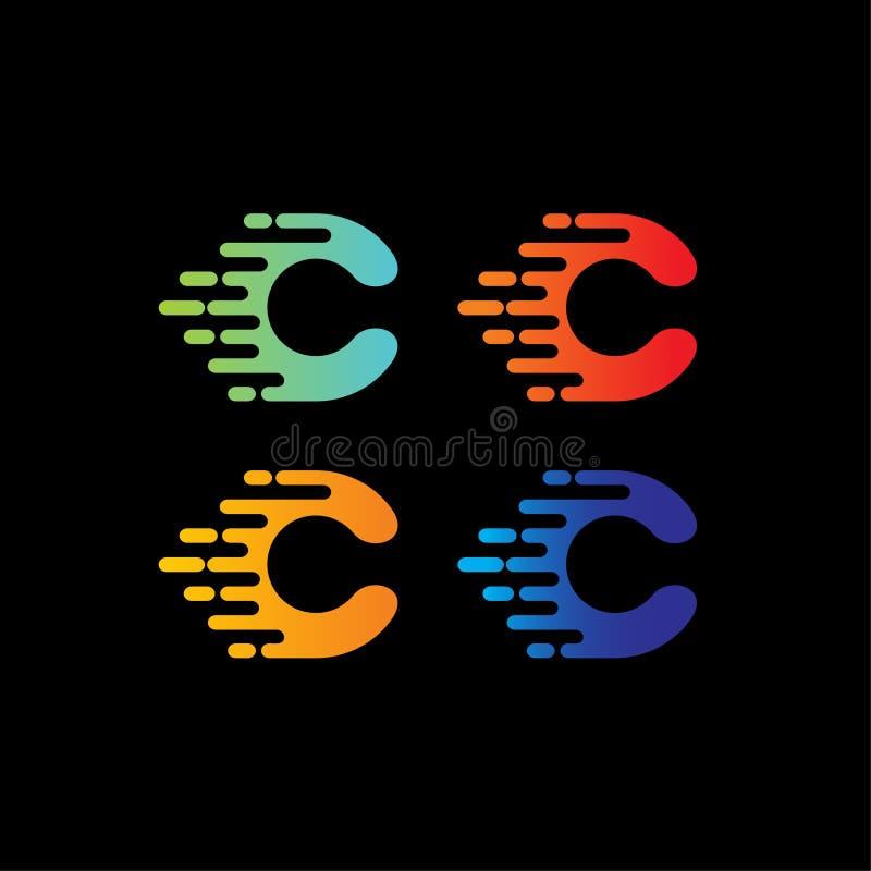 Vector Logo Design Template del extracto de la letra de C stock de ilustración