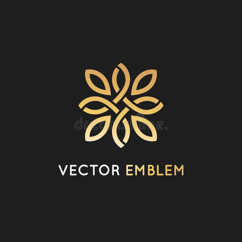 Vector logo design template and emblem with petals and lines - vector illustration