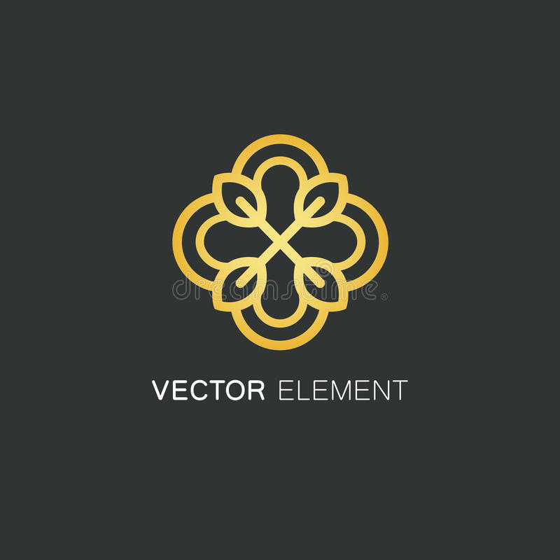 Vector logo design template and gold floral concept in linear style - emblem for fashion, beauty and jewelry industry. royalty free stock image