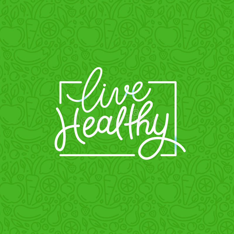 Vector logo design template with hand-lettering text - live heal stock illustration
