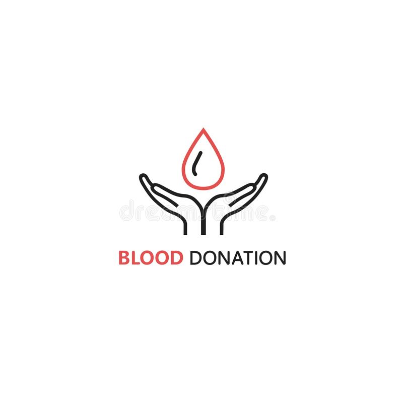 Vector logo design template in linear style - hands holding blood drop. stock illustration