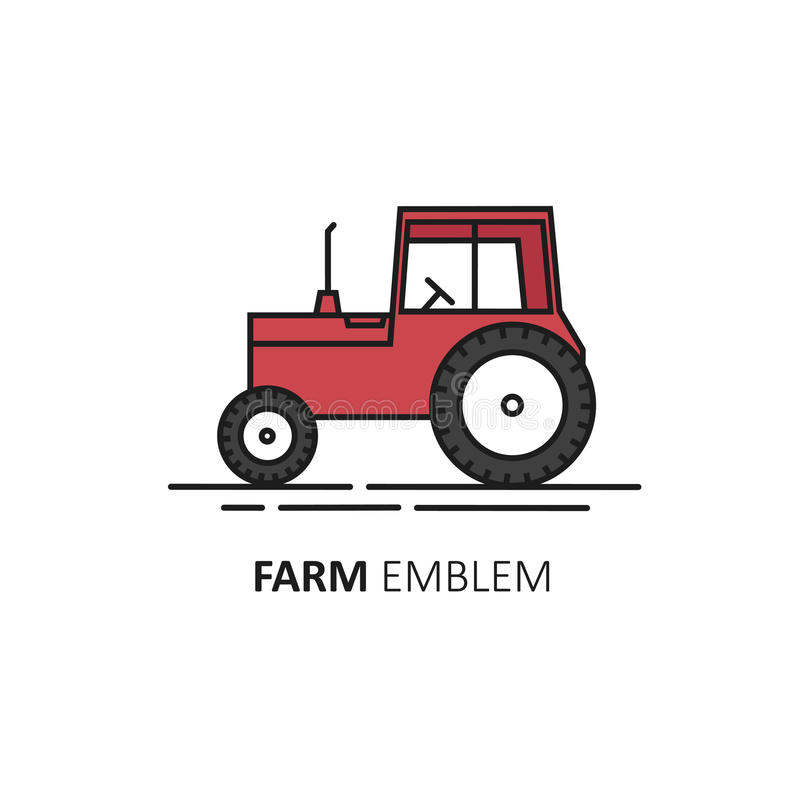 Vector logo design template in linear style - red tractor. royalty free illustration