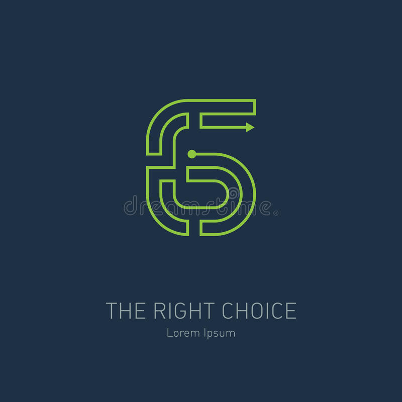Vector logo design template, number six. The way out of the maze vector illustration