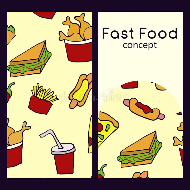 Vector logo design template and seamless pattern in doodle style for packaging. Fast food concept. Vector illustration vector illustration