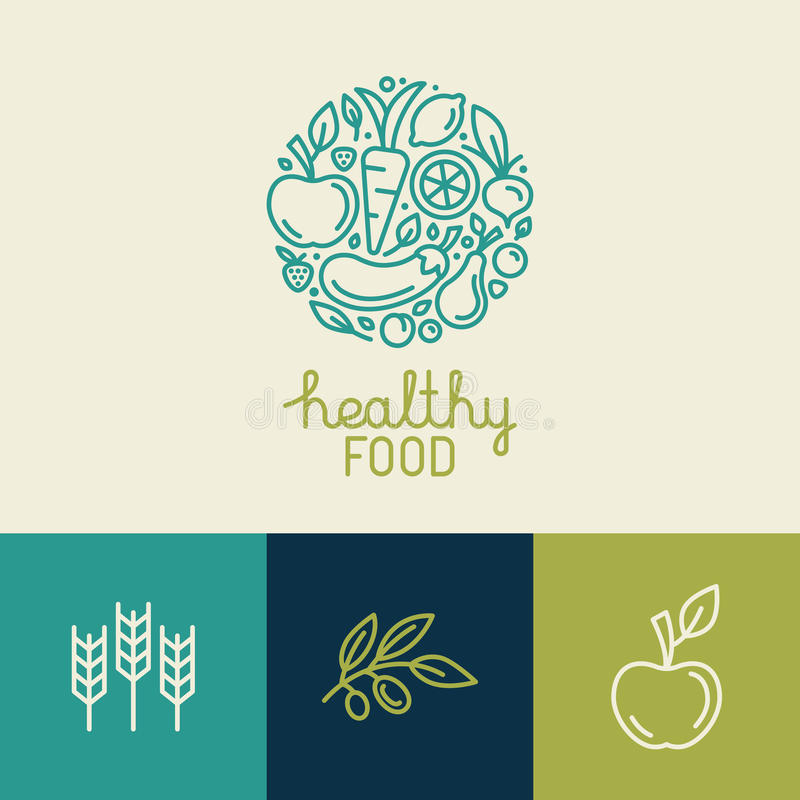 Free Vector Logo Design Template With Fruit And Vegetable Icons Stock Images - 60802754