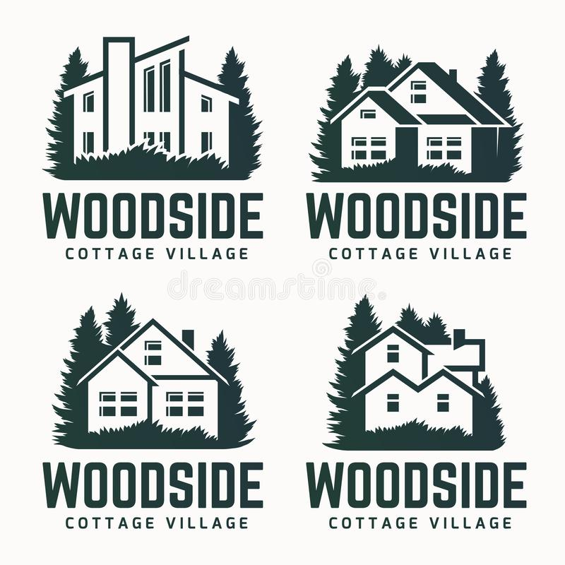 Vector logo design of a trees silhouette and small house. Logo for house repair and building royalty free illustration