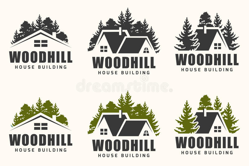Vector logo design of a trees silhouette and small house. stock illustration