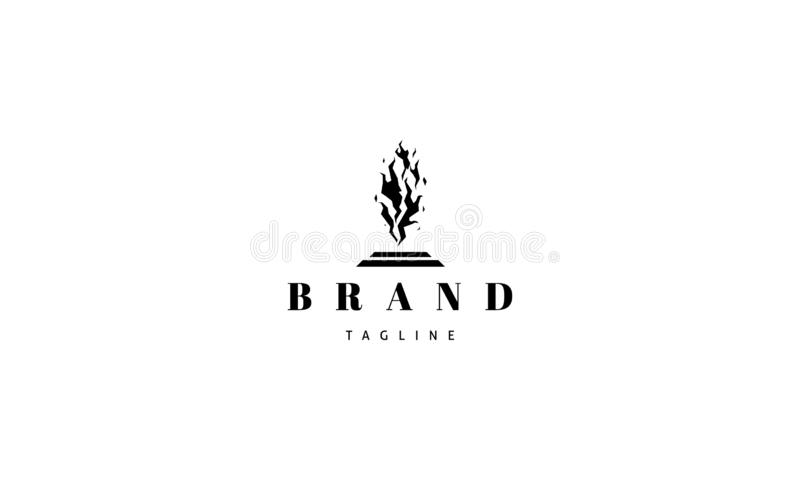 Vector logo on which an abstract image of fire on a pedestal. Vector logo design on which an abstract image of fire on a pedestal royalty free illustration
