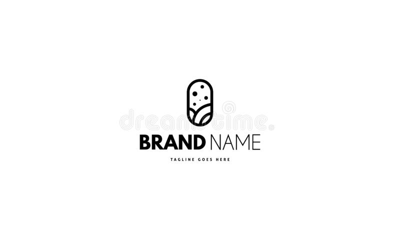 Vector logo on which an abstract image of a pill in the center of which is useful organic components. Vector logo design on which an abstract image of a pill in vector illustration