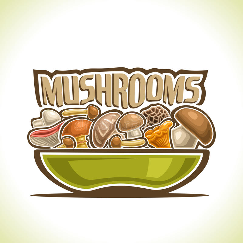 Vector logo Dish with edible Mushrooms stock illustration
