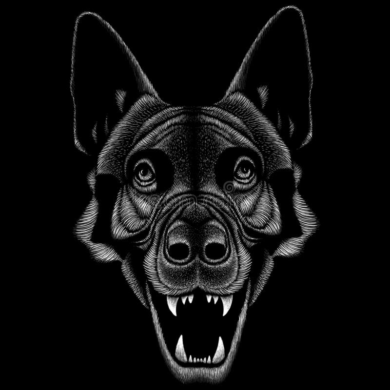The Vector logo dog  or wolf for tattoo or T-shirt design or outwear.  Cute print style dog  or wolf  background. This drawing would be nice to make on the stock photography