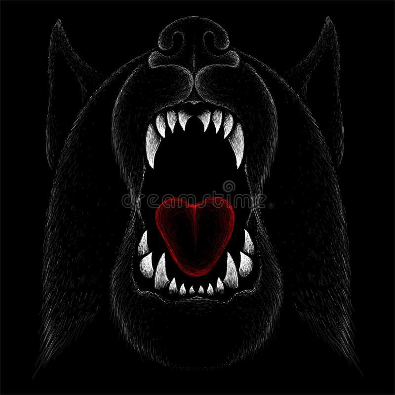 The Vector logo dog  or wolf for tattoo or T-shirt design or outwear. Cute print style dog  or wolf  background. This drawing would be nice to make on the stock image