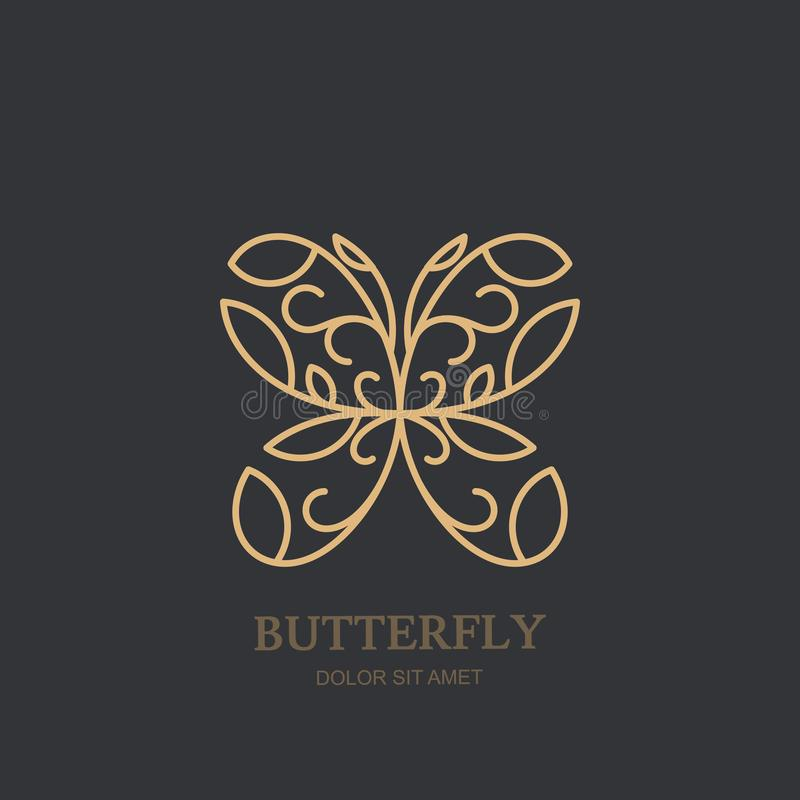 Vector logo or emblem with golden butterfly. Concept for luxury jewelry, accessories store, beauty spa salon, cosmetics. Vector logo icon or emblem with linear vector illustration