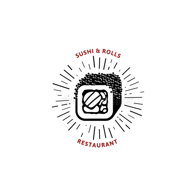 Vector logo and emblem for restaurants of Japanese food in a retro style with lettering and icon and shape of sushi stock illustration