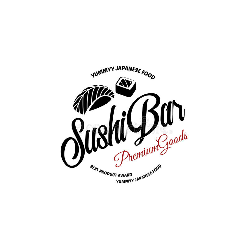 Vector logo and emblem for restaurants of Japanese food in a retro style with lettering and icon and shape of sushi. Roll stock illustration