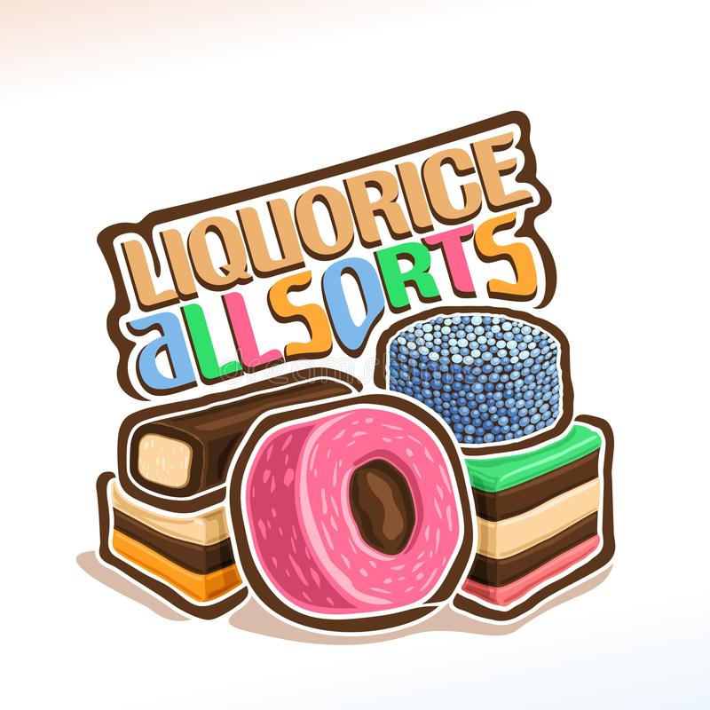 Liquorice All sorts. Vector logo for english candies Liquorice Allsorts, original typography typeface for colorful words liquorice allsorts, illustration of pile vector illustration