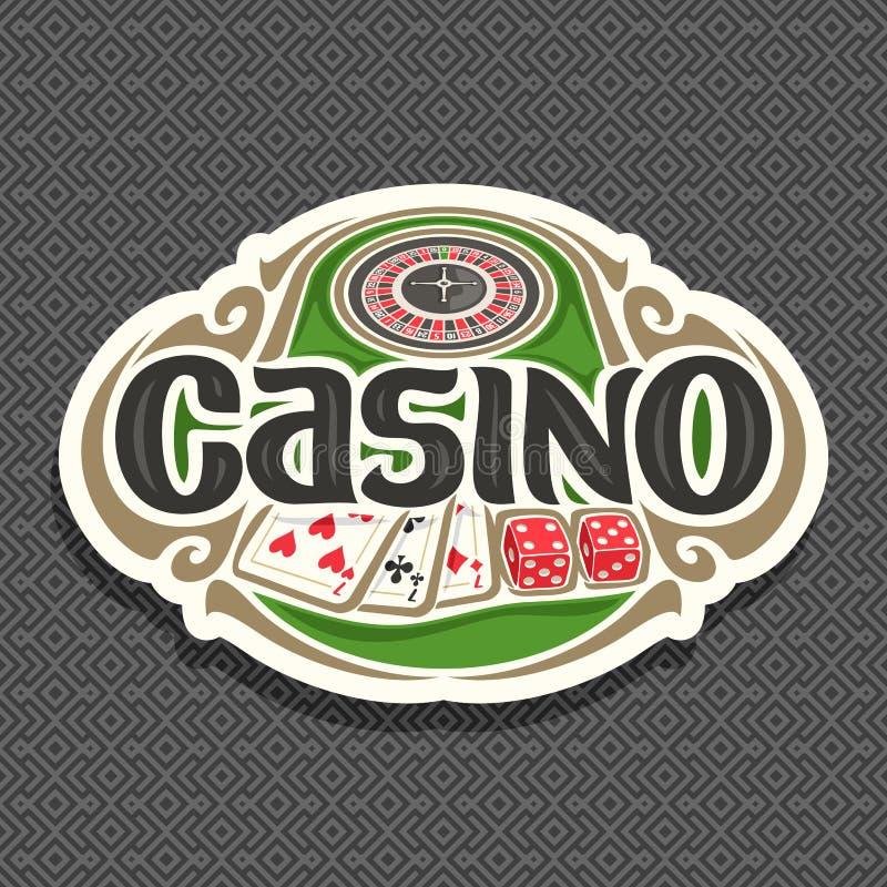 Vector Logo für Kasinoclub auf grauem Hintergrund vektor abbildung