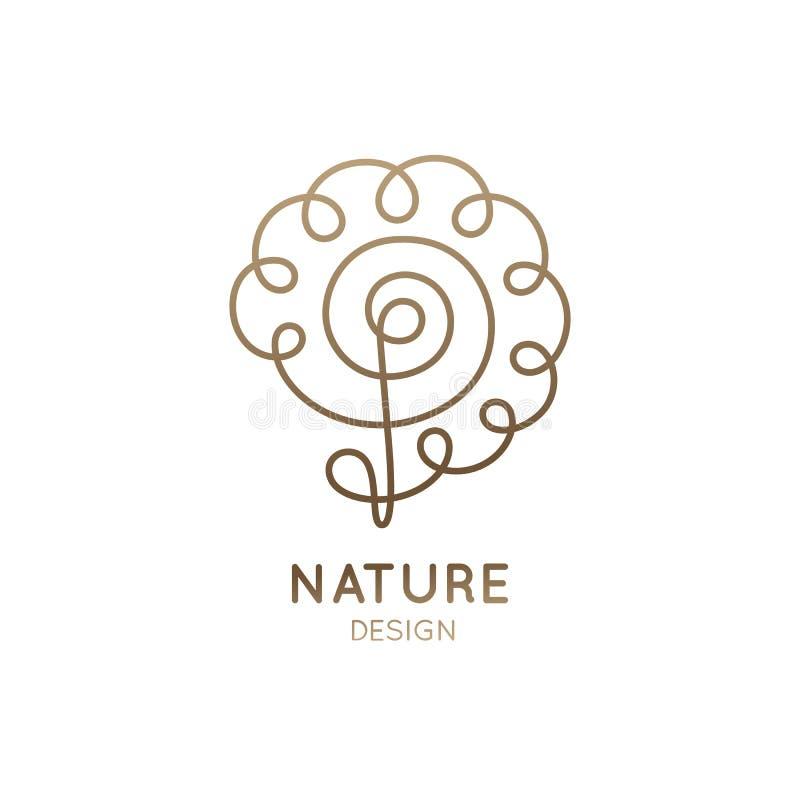Logo curved flower vector illustration