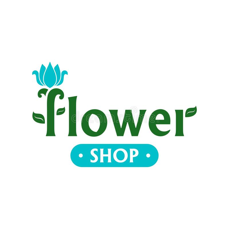 Vector logo for flower shop. Emblem with blue tulip. Icon for florist, flower store or symbol of cosmetic company. Floral label. Icon for web stock illustration