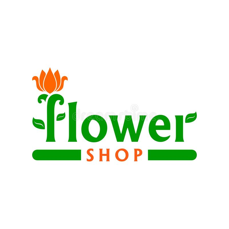 Vector logo for flower shop. Emblem with orange tulip. Business sign for florist, flower store or symbol of cosmetic company. Floral label. Icon for site royalty free illustration