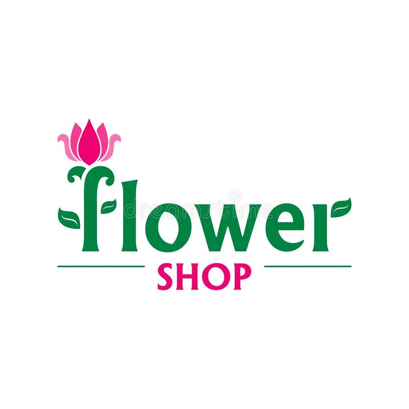 Vector logo for flower shop. Emblem with pink tulip. Icon for florist, flower store or symbol of cosmetic company royalty free illustration