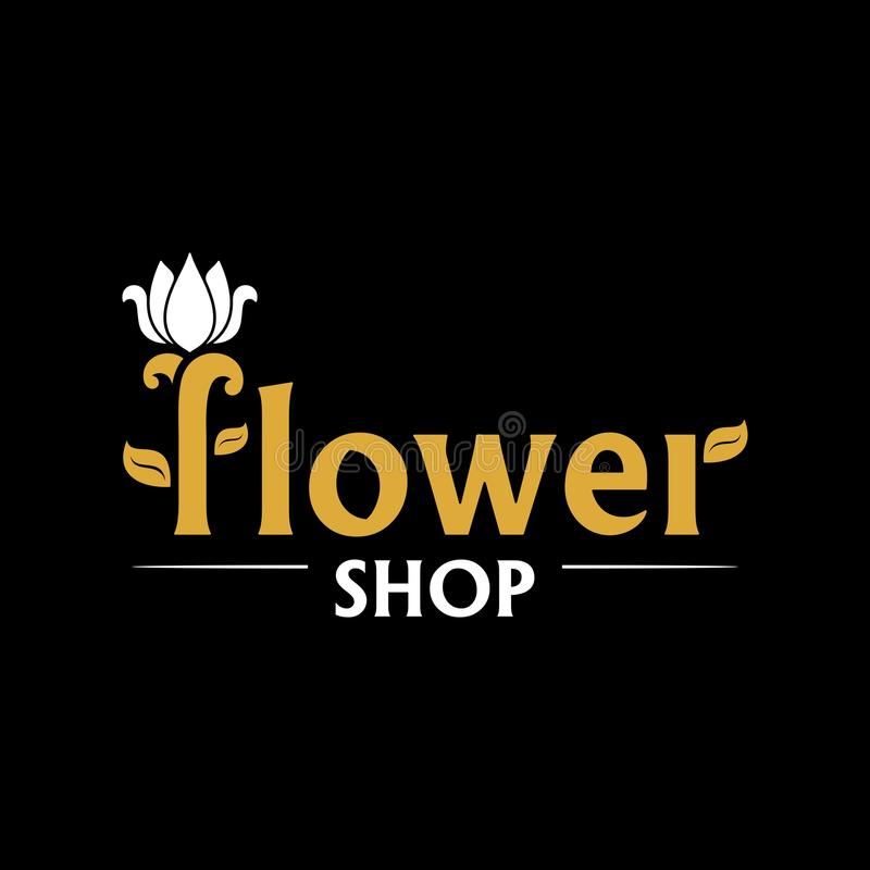 Vector logo for flower shop. Gold emblem with white tulip on black background. Icon for florist, flower store or symbol of cosmetic company. Floral label. Icon stock illustration