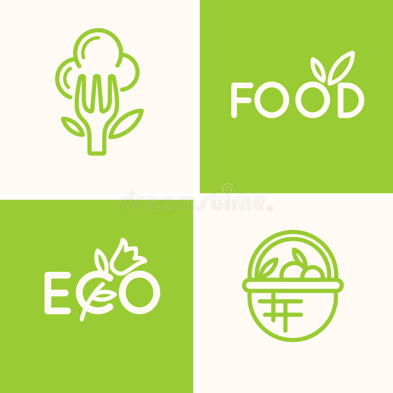Set vector logo food and natural product. stock illustration