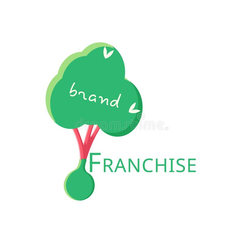 Vector logo franchise in flat design. The tree is ready for planting. royalty free illustration