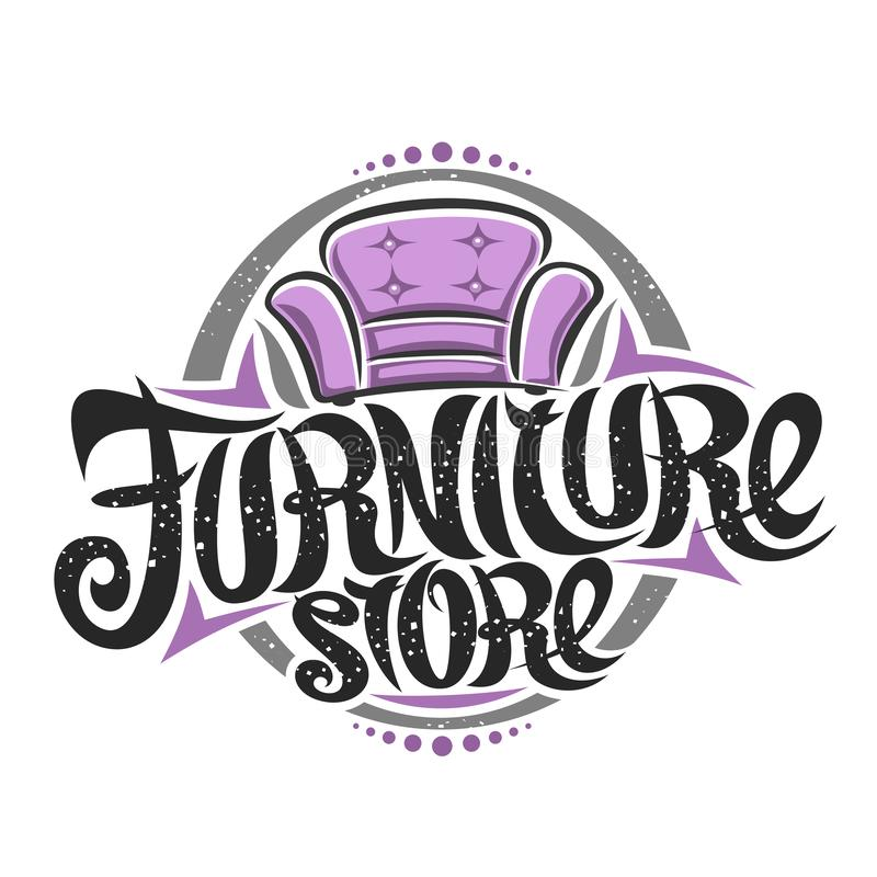 Vector logo for Furniture Store. Decorative sign board with illustration of classic cartoon purple armchair, design poster with original elegant typeface for royalty free illustration