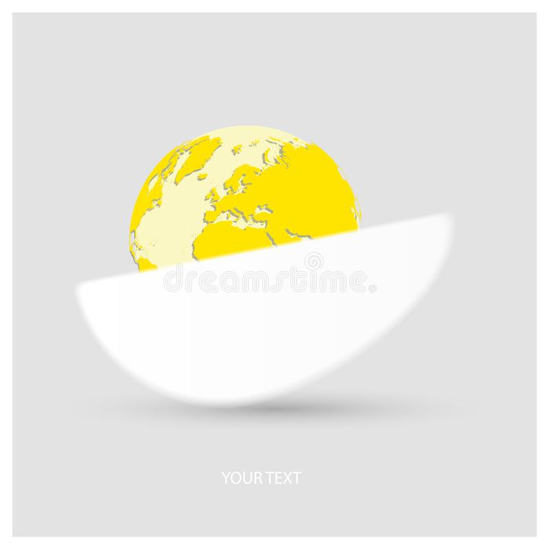 Vector logo a half white protein egg with yellow planet Earth in form of egg yolk on light gray background with copy-space for you royalty free illustration