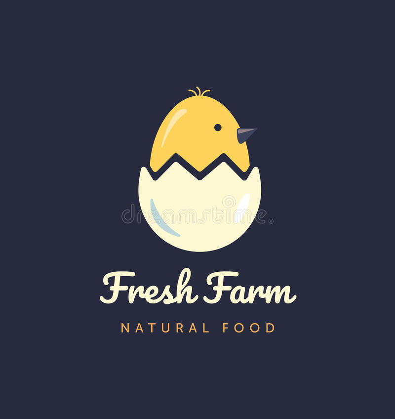 Vector logo for home business with products from chicken meat and eggs. Poultry Farm illustration. royalty free illustration