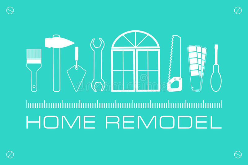 Vector logo home remodel. royalty free stock image