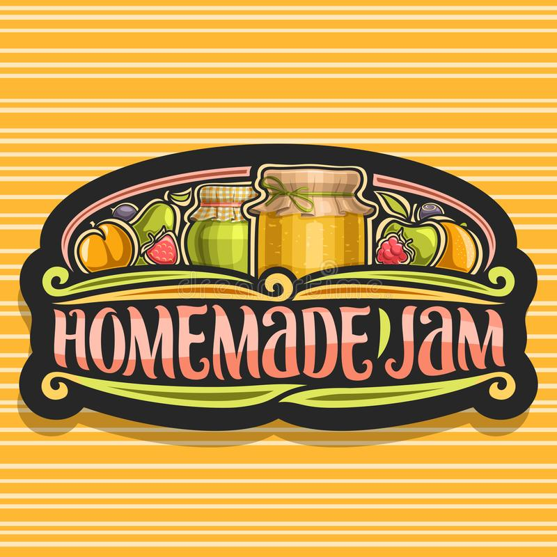 Vector logo for Homemade Jam. Dark retro signboard with 2 home made containers covered checkered fabric and tied bow on lid, brush lettering for words homemade stock illustration