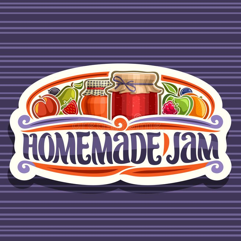Vector logo for Homemade Jam. Cut paper retro signage with 2 home made containers covered checkered fabric and tied bow on lid, brush lettering for words royalty free illustration
