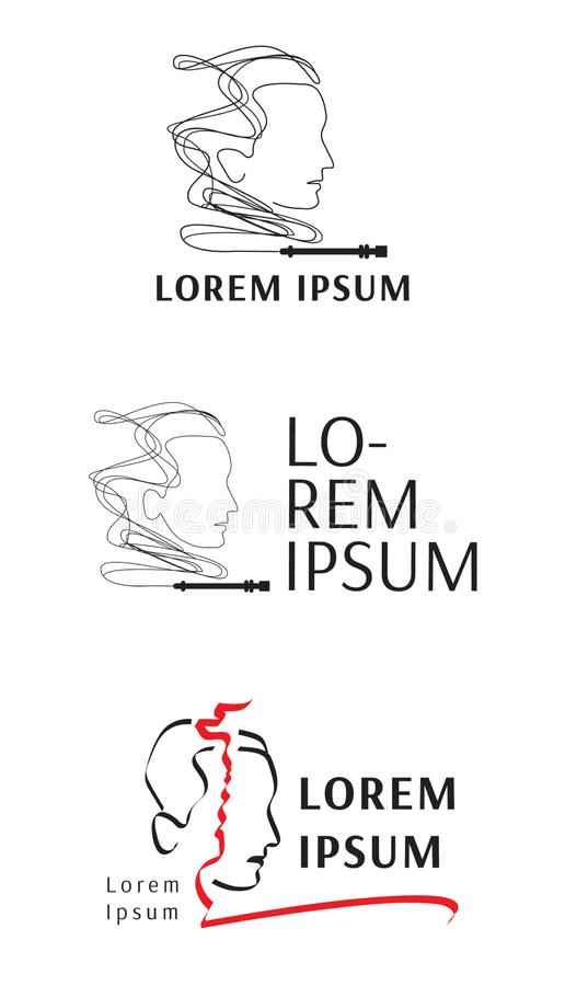 Vector logo for hookah, Museum, art Studio. With the image of a vase, hookah, human head and smoke stock illustration