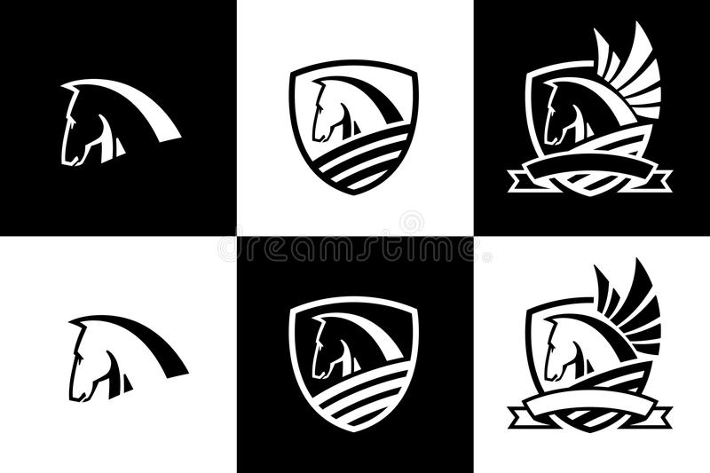 Vector logo with horse head icon royalty free illustration