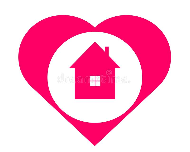 Drawing logo house in the heart. vector illustration