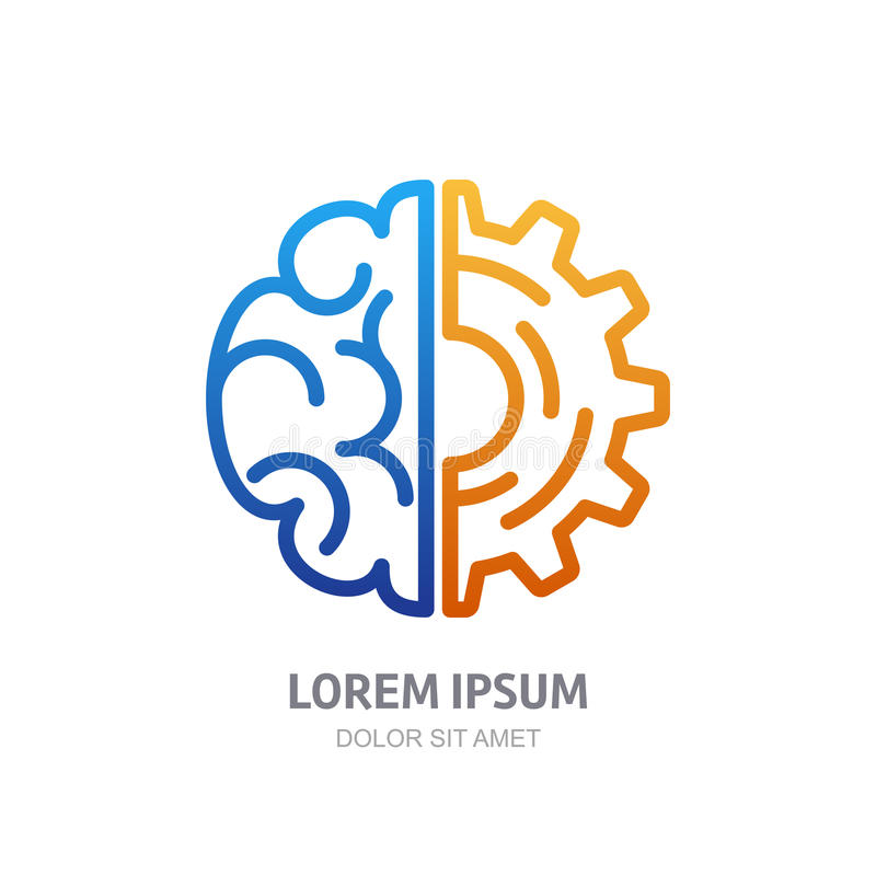 Vector logo icon with brain and gear cog. Abstract outline illustration. Design concept for business solutions, high technology, development, invention and vector illustration
